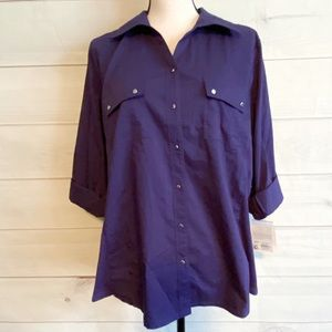 NWT Croft & Barrow Purple Button Down Top